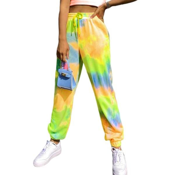 Kvinnor Tie Dye Midja Yoga Byxor Casual Sport Stretch Yellow,XL