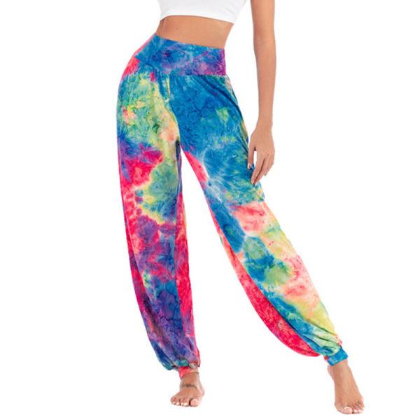 Dam Tie Dye Yoga Harem Baggy Palazzo Casual Wide Leg Byxor Blue,M