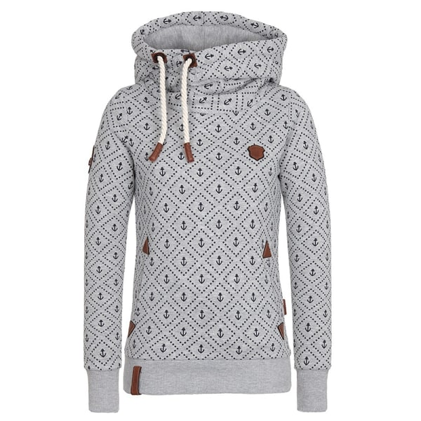 Women Turtleneck Hooded Sweatshirt Printed Winter Warm Top Gray,XL