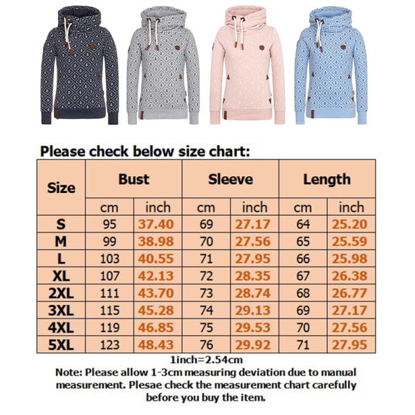Women Turtleneck Hooded Sweatshirt Printed Winter Warm Top Navy blue,L