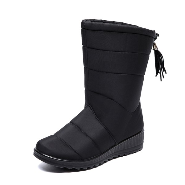 Women Waterproof Snow Boots Fur Lined Wedge With Tassels Booties Black,38