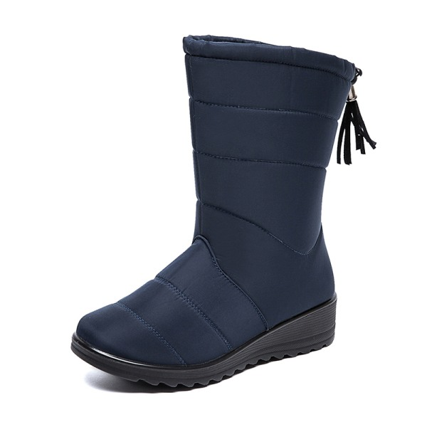 Women Waterproof Snow Boots Fur Lined Wedge With Tassels Booties Blue,41