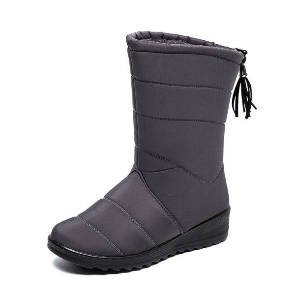Women Waterproof Snow Boots Fur Lined Wedge With Tassels Booties Gray,39