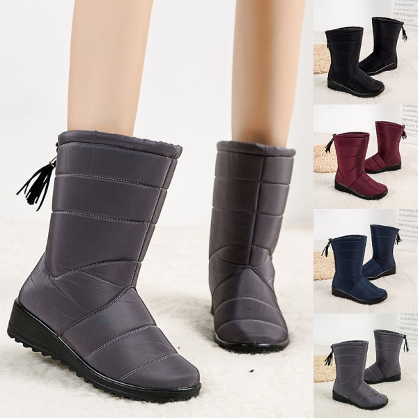 Women Waterproof Snow Boots Fur Lined Wedge With Tassels Booties Red,37