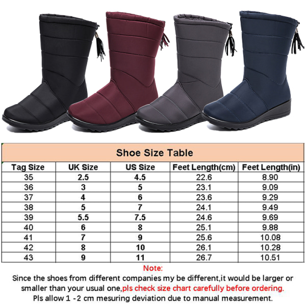Women Waterproof Snow Boots Fur Lined Wedge With Tassels Booties Red,40