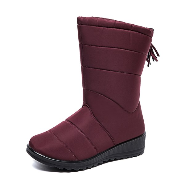 Women Waterproof Snow Boots Fur Lined Wedge With Tassels Booties Red,38