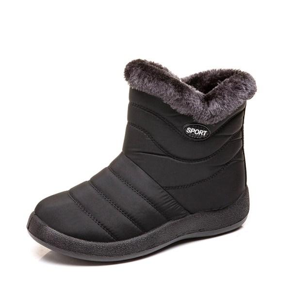 Women's Snow Fur Lined Ankle Boots Winter Warmer Black,42