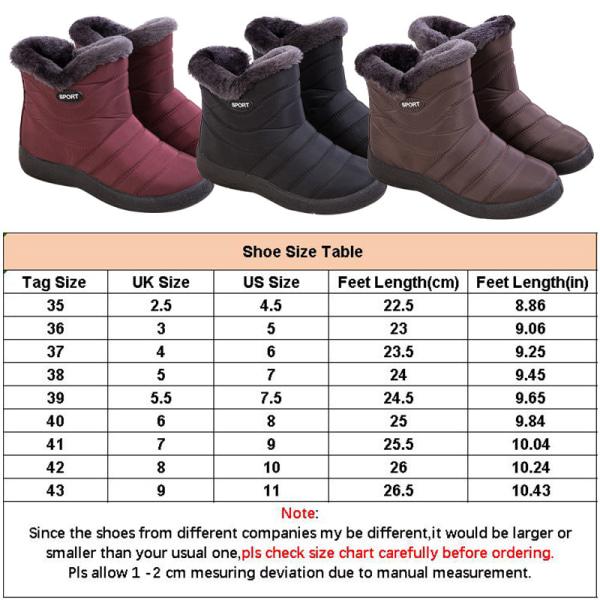 Women's Snow Fur Lined Ankle Boots Winter Warmer Black,43