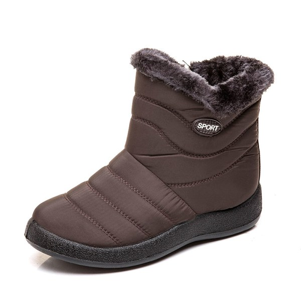 Women's Snow Fur Lined Ankle Boots Winter Warmer Brown,42