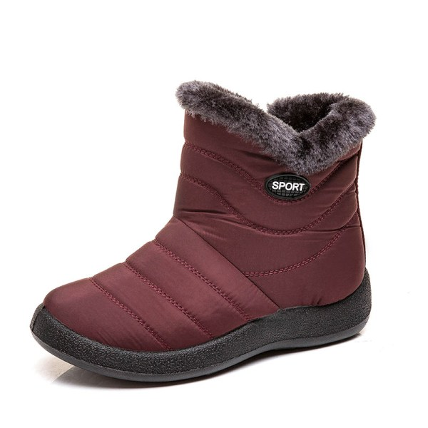 Women's Snow Fur Lined Ankle Boots Winter Warmer Red,41
