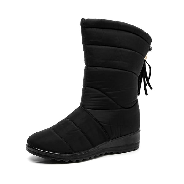 Women Winter Snow Boot Wedge Fur Lined Warm Slip On With Tassels Black,42