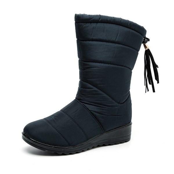 Women Winter Snow Boot Wedge Fur Lined Warm Slip On With Tassels Blue,39