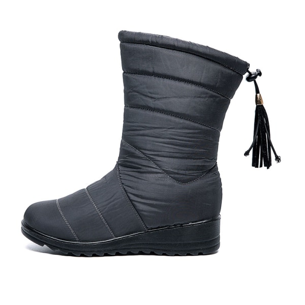 Women Winter Snow Boot Wedge Fur Lined Warm Slip On With Tassels Gray,36