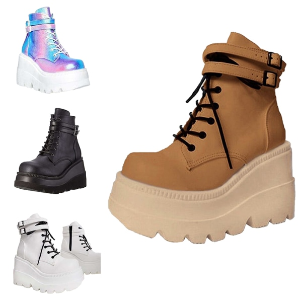 Women Wedge Platform Muffin Shoes High Top Sneakers Casual Shoes Brown,40