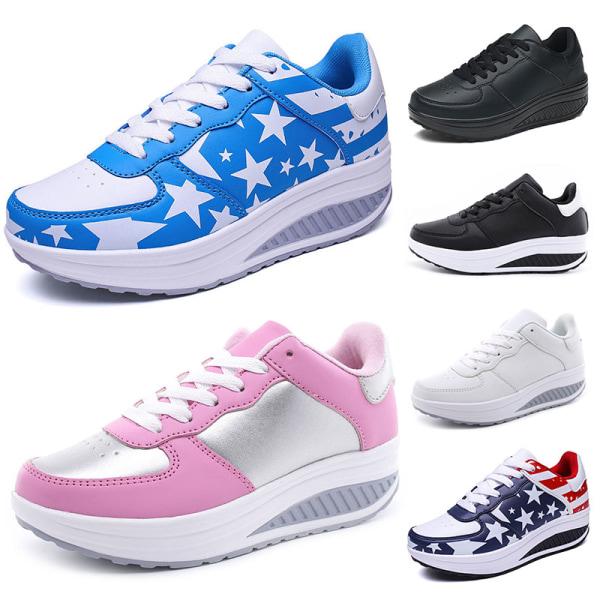 Women Wedge Sneaker Walking Jogging Sports Height Increase Shoes Black White,38