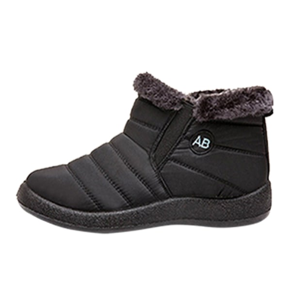 Women Winter Snow Waterproof Ankle Boot Casual Anti-Slip Booties Black,35