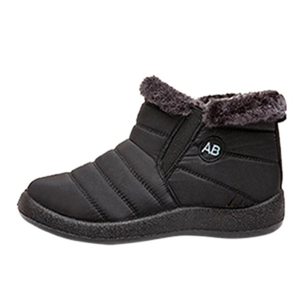 Women Winter Snow Waterproof Ankle Boot Casual Anti-Slip Booties Black,42
