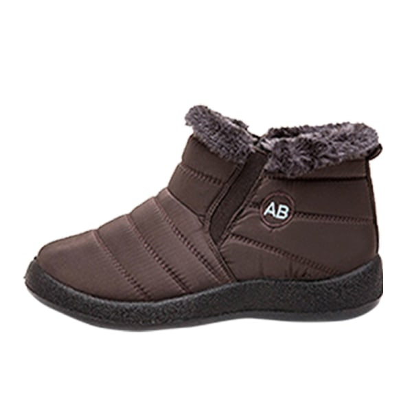 Women Winter Snow Waterproof Ankle Boot Casual Anti-Slip Booties Brown,38