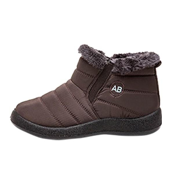 Women Winter Snow Waterproof Ankle Boot Casual Anti-Slip Booties Brown,43