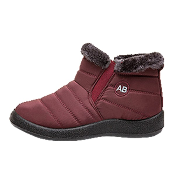 Women Winter Snow Waterproof Ankle Boot Casual Anti-Slip Booties Red,35