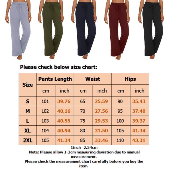 Kvinnors byxor med vida ben och vida avslappnad elastisk löst Blue,XXL