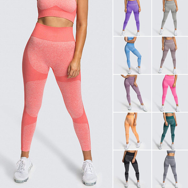 Womens high waist Yoga Pants exercise fitness elastic pants coffee,M