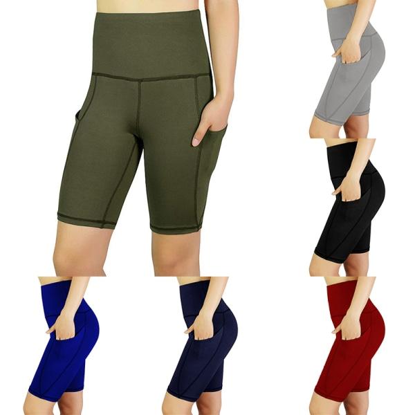 Womens high waist Yoga tights pocket gym running pants Gray,L