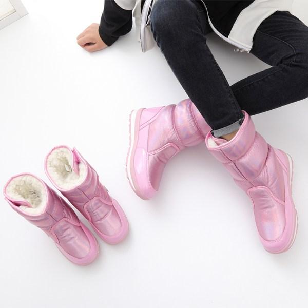 Womens Kids Shiny Winter Snow Boots Mid Calf Platform Booties Pink,35
