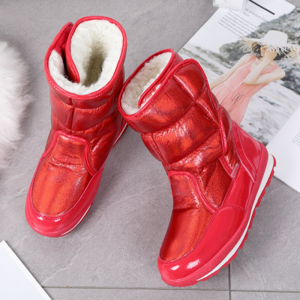 Womens Kids Shiny Winter Snow Boots Mid Calf Platform Booties Red,41