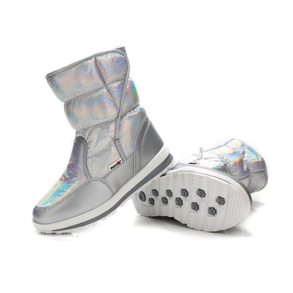 Womens Kids Shiny Winter Snow Boots Mid Calf Platform Booties Silver,29