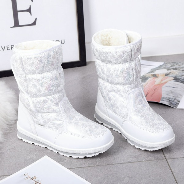 Womens Kids Shiny Winter Snow Boots Mid Calf Platform Booties White,40