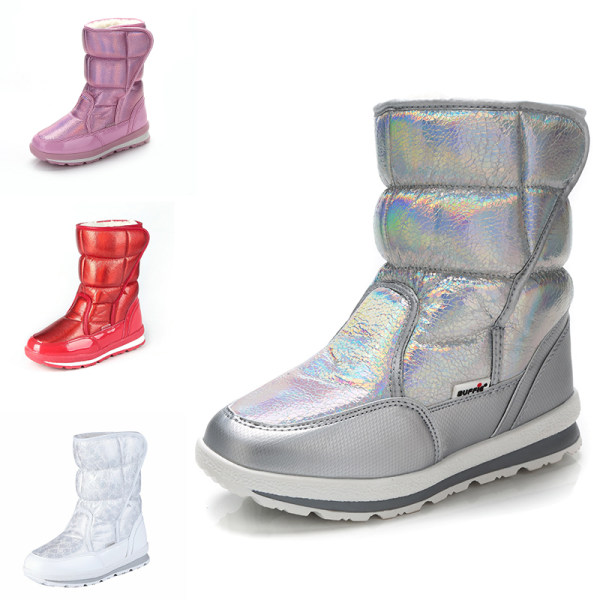 Womens Kids Shiny Winter Snow Boots Mid Calf Platform Booties Red,34