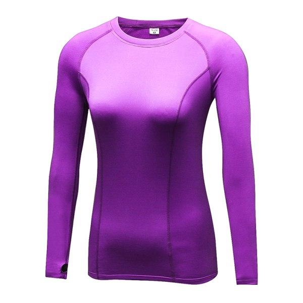 Womens Long Sleeve Sports T-Shirts Base Layer Yoga Tops Fitness Purple,XL