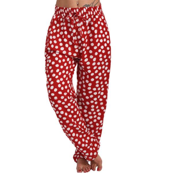Womens Polka Dot Loose Trousers Harem Elasticated Wide Leg Pants Red,4XL