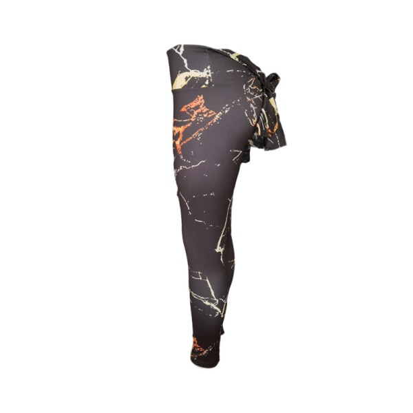 Kvinnors tryckta hög midja yoga leggings sportbyxor höft push Black Marble,S