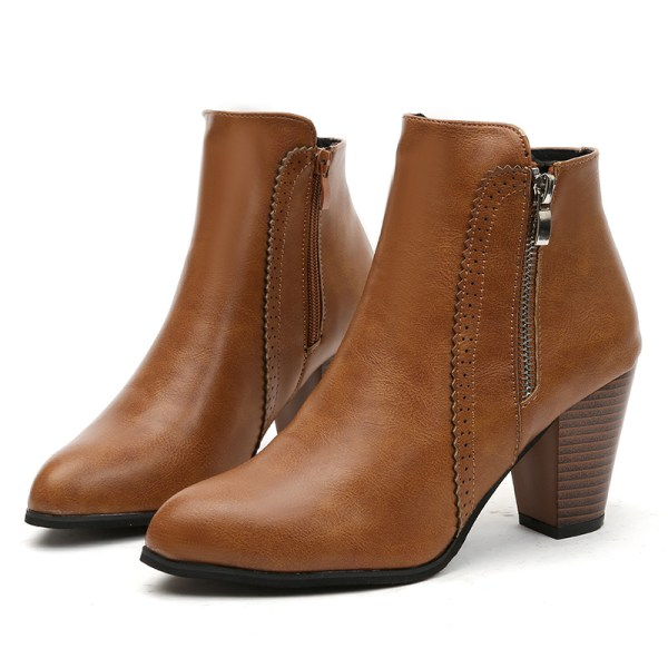 Womens Warm Snow Short Boots Thick Heel Zipper Casual Shoes Brown,40