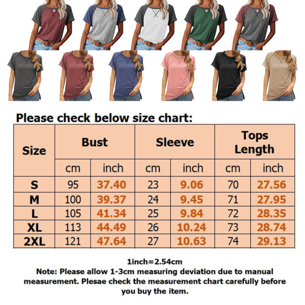 WomenSolid Color Top Short Sleeve Casual Shirt Loose Sweatshirt Blue,S