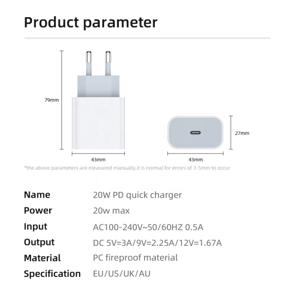 Apple iPhone 11/12 USB-C 20W PD strömadapter power adapter vit
