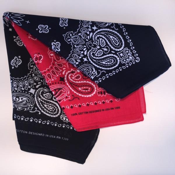 3-pack USA Rockabilly Bandanas Snusnäsdukar svart röd blå