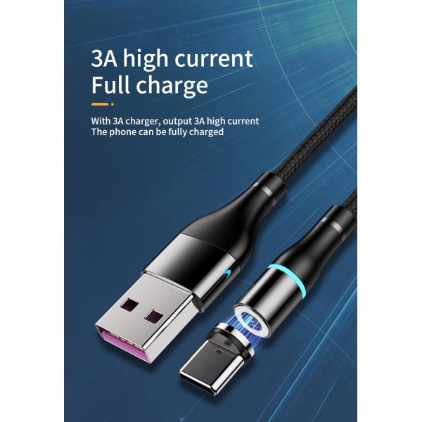 3 i 1 Magnetisk Laddnings kabel, USB-C, Lightning, Mikro USB röd