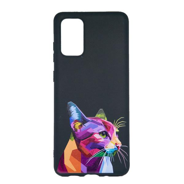 Samsung Galaxy s20fe skal med kattmotiv, färgrik katt - svart.