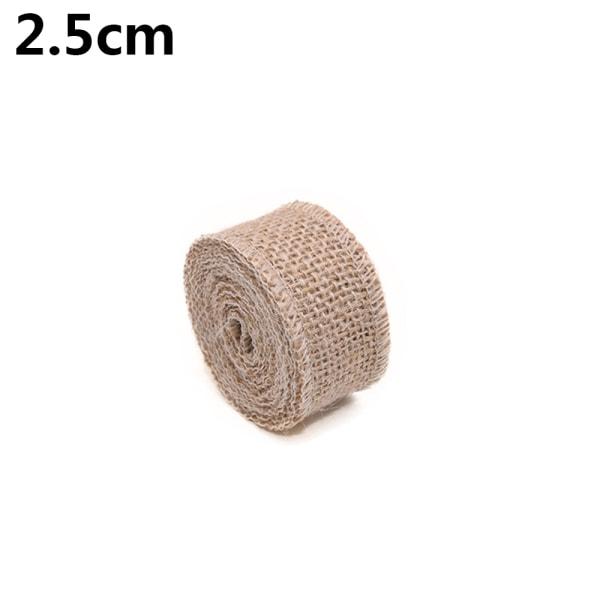 1 Roll 2M Jute Burlap Ribbon Presentförpackningsväska Inpackning 2,5 CM