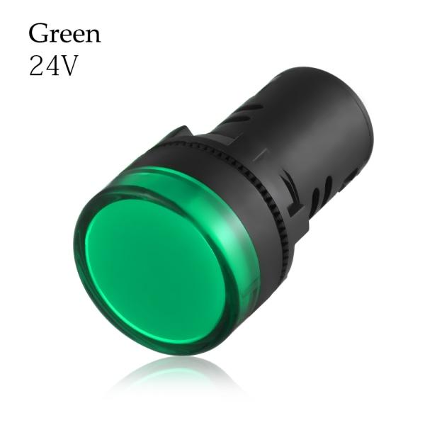1st LED-indikator Pilotljussignallampa 22mm GRÖN 24V
