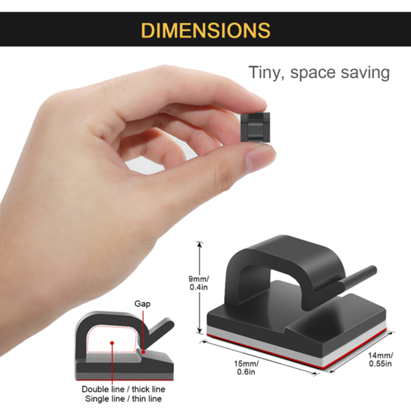 20st Kabel Organizer USB Kabelupprullare SVART