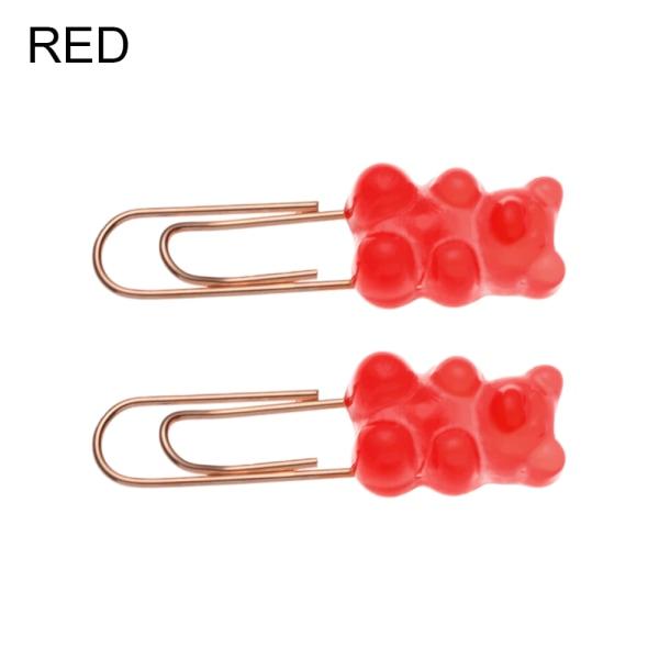 2pcs/set Paper Clips Clip Holder Bookmark Binder RED 10-20G red