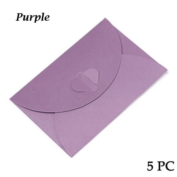 5 Pcs / Set Paper Envelop Envelope Bag Love Buckle PURPLE Purple
