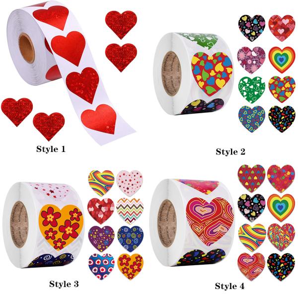 500st / rullepappersförpackningsklistermärke hjärtform 2,5cm