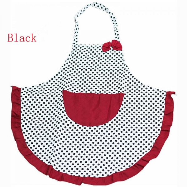 Aprons Bib Black Dot Bowknot Black