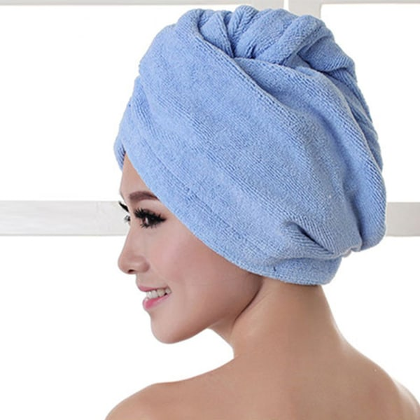 Hair Dry Hat Hair Drying Towel Shower Cap BLUE