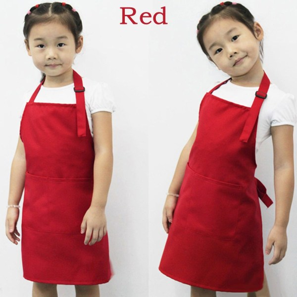 Kids Painting Apron Cooking Bib Waterproof RED red